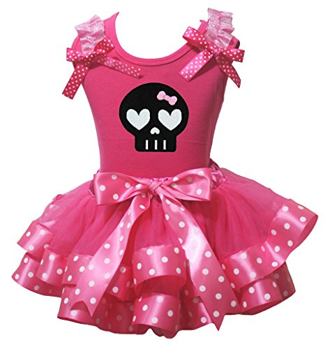 Halloween Dress Black Skeleton Hot Pink Shirt Polka Dot Ribbon Petal Skirt Nb-8y