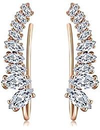 Wearyourfashion Austrian Cubic Zirconia 18K Rose Gold Plated Leaf Cuff Earrings for Women/Girls