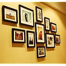 Jessie&Letty Lot de 11Cadres photo collage Galerie Photo images Noir et Blanc avec 8cadres de 18 cm et 3cadres de 25 cm noir
