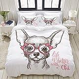 PANILUR Bettwäsche Set, Mikrofaser,Modern,Chihuahua-Illustrationsdruck des Mädchens niedlich modern, 1 Bettbezug 200 x 200cm + 2 Kopfkissenbezug 80x80cm