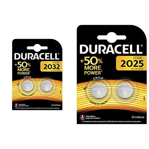 Duracell Specialty 2032 Lithium-Knopfzelle 3 V, 2er-Packung (CR2032 /DL2032 entwickelt &  Specialty 2025 Lithium-Knopfzelle 3 V, 2er-Packung (CR2025 /DL2025) entwickelt für die Verwendung