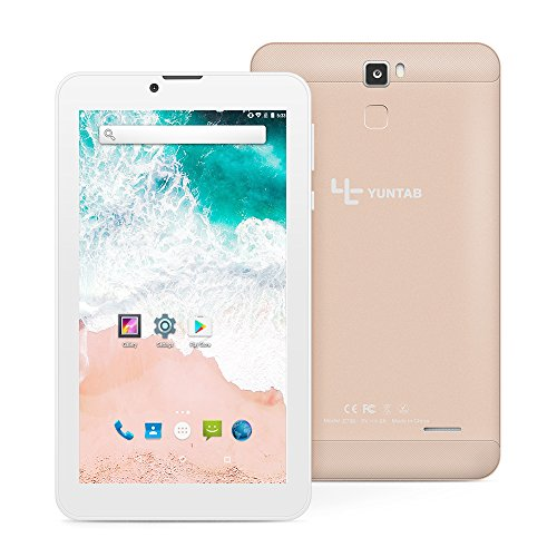 Tablet Yuntab E706 3G con retro in lega di metallo IPS 7 pollici Google Android 6.0 Quad Core support Dual SIM Card,1G+8G, Dual Camera,WiFi,Bluetooth,GPS (Oro)