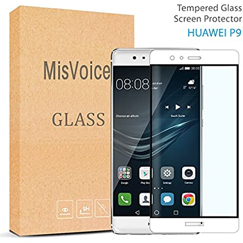 Huawei P9Protector de pantalla 2.5d Round Edge, misvoice Premium resistente a los arañazos de cristal templado 0,26mm de grosor dureza 9H anti huellas dactilares fácil instalación Bubble-free a prueba de roturas–Garantía de reemplazo de por vida blanco blanco huawei P9