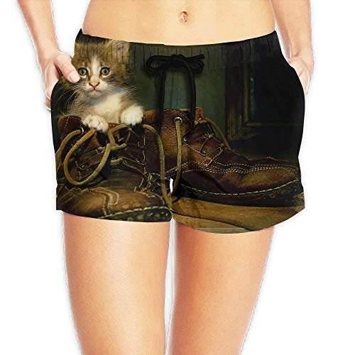 ERCGY Women's Elastic Waist Casual Beach Shorts Drawstring Cat in Boots Shorts Swim Trunks,M