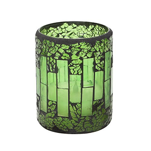 Green Crack Glass pattern Mosaic LED Candles, Flameless Electronic Candles with Timer,Battery Operated, for Home, Party, Festival Deco, 10.2 x 7.6cm