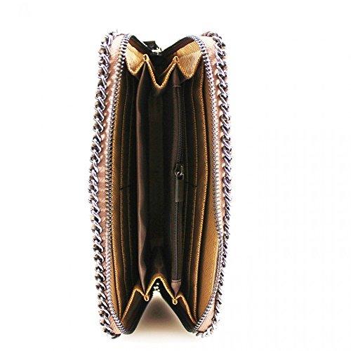 LeahWard® Damen Synthetik Leder Kette Klappe Geldbörsen Brieftasche Für Sie Zum Damen Braun Reißverschluss ARunden Geldbörse
