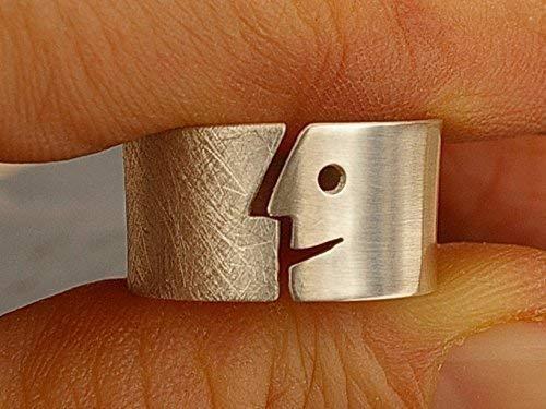 Offener Silberring mit Gesicht glatt und rauh, Blechdicke 0,8mm -
