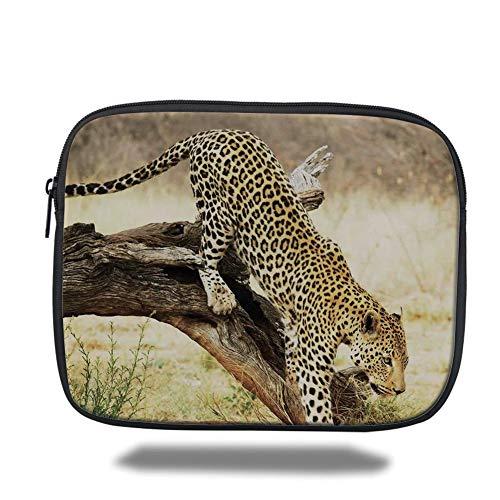 Tablet Bag for Ipad air 2/3/4/mini 9.7 inch,Safari Decor,Leopard On Tree Trunk Desert Plants Exotic Hunter Predator Big Cat Print Decorative,Yellow Green Brown,3D Print - Safari Trolley