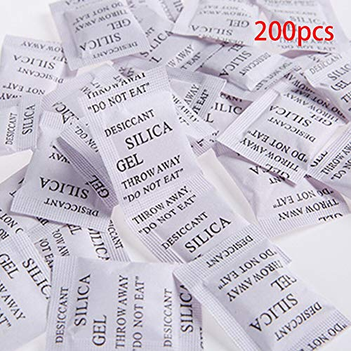 Moisture Absorbers - 200 Packs Non Toxic Silica Gel Sachets Desiccant Pouches Drypack Car Clothes Food Storage Dryer - Closets Shoes Guns Snake Food Storage Tool Moisture Water Home Baseme