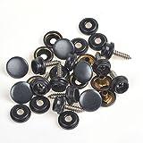 150 tornillos de presión de 15 mm, color plateado/negro/latón, con tornillos de madera a tela Gunmetal Black