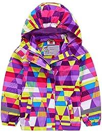 YoungSoul Abrigos impermeables para niña - Cortavientos con capucha de manga larga - Chaqueta estampada otoño