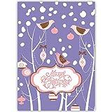 4er Set Schöne Weihnachtskarten mit Engel in Medaillon, mit ihrem Innentext (Var1) drucken lassen, als geschäftliche Weihnachtsgrüße, Firmen Neujahrskarte für Kunden, Geschäftspartner, Mitarbeiter: Ein schönes Fest