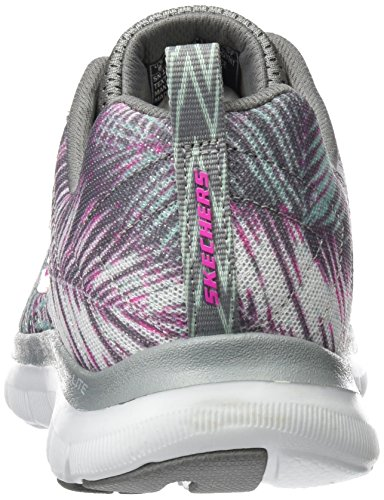Skechers Flex Appeal 2.0 Tropical Bree, Chaussures Multisport Outdoor Femme Gris (Gymt)