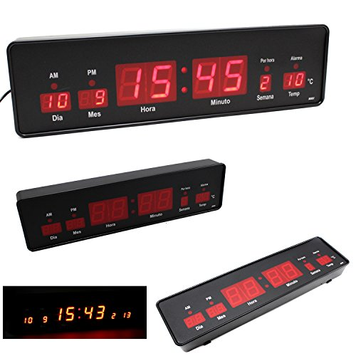 RELOJ DE MESA PARED ESCRITORIO DIGITAL LED ROJO MEDIANO CALENDARIO TEMPERATURA ALARMA OFICINA BANCO