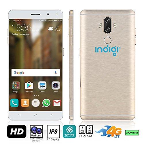 Indigi 2017GSM entsperrt 4G LTE ANDROID 7.0nougat 15,2cm Smartphone [Octa-Core @ 1,3GHz + DUALSIM + Fingerabdruck Scanner] aus gebürstetem Aluminium finish (Gold) Entsperrt Handys Tracfone