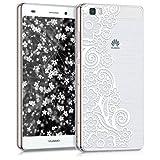 kwmobile Hülle für Huawei P8 Lite (2015) - TPU Silikon Backcover Case Handy Schutzhülle - Cover klar Blütenmeer Spitze Design Weiß Transparent
