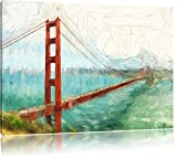 Golden Gate Bridge in San Francisco Art brush effect, format: 100x70 on canvas, XXL huge Pictures completely framed with stretcher, art print on mural with frame, cheaper than painting or an oil painting, not a poster or banner,