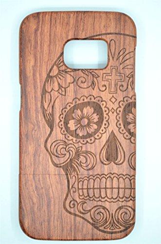 Holzsammlung® samsung galaxy s7 edge legno custodia - cranio di legno rosa - qualit à premium cover in bambù / legno naturale per il tuosmartphone