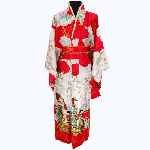 Schick Geisha Satin Kimono Robe Rot (Roben Satin Rote)