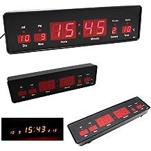 Orologio da parete tavolo scrivania digitale LED rosso media Calendario Temperatura Allarme Ufficio Panca