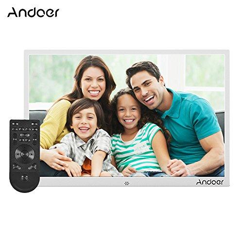 """Andoer 15.4\"""" Ultra Schmaler Metall Rand HD Digitale Bilderrahmen, New Version Fernbedienung, mit 1280 * 800 Auflösung Musik-1080P Video-Wiedergabe Digital-Foto Geschenk"""
