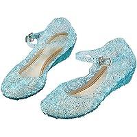 Vicloon Zapatos Azules con Talón para Disfraz de Princesa Niñas, para Carnaval Fiesta Cosplay Halloween Cumpleaños