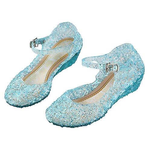 Vicloon Ice Queen Prinzessin Fancy Schuhe Sandalen Blau und Nette Mädchen, für Weihnachten Verkleidung Karneval Party Halloween Fest (Schuhe Halloween)