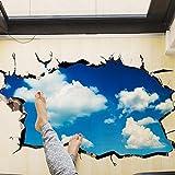 Saingace Wandaufkleber Wandtattoo Wandsticker,3D-Brücken-Boden-Wand-Aufkleber-entfernbare Wandabziehbild-Vinyl-Kunst-Wohnzimmer (Blau B)