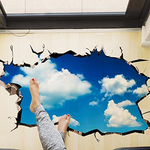 Saingace Wandaufkleber Wandtattoo Wandsticker,3D-Brücken-Boden-Wand-Aufkleber-entfernbare Wandabziehbild-Vinyl-Kunst-Wohnzimmer (Blau B) (Anzeigen Für Boden)