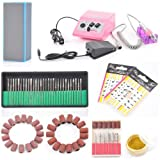 Complete-Professional-Electric-Nail-Drill-Machine-Manicure-Pedicure-Kit-Electric-Nail-Art-File-Drill-w/-Pink-Machine-Set,-30-Pcs-Electric-Nail-File-Drill-Bits,-Nail-Buffer