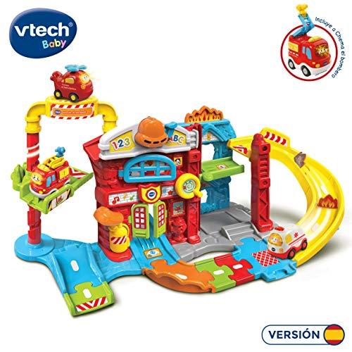 VTech Tut Bólidos Estación de Bomberos, Pistas interactivas con Diferentes Frases, melodías y sensores mágicos, Incluye al vehículo Chema (3480-503922)