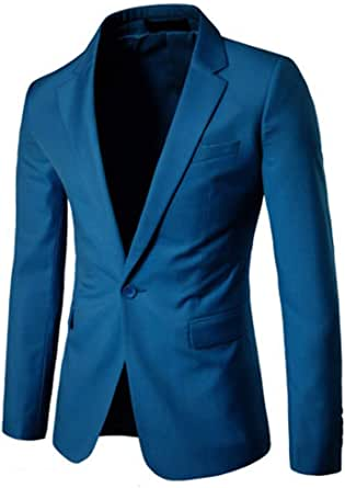 Men's Slim Fit One Button Suits Coat Single Breasted Solid Blazer Business Jacket