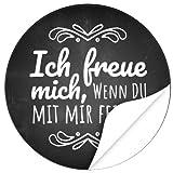 48 Design Etiketten, rund/Ich freue mich Motiv 1/Hochzeit/Taufe/Geburtstag/Konfirmation/Aufkleber/Sticker/Einladung