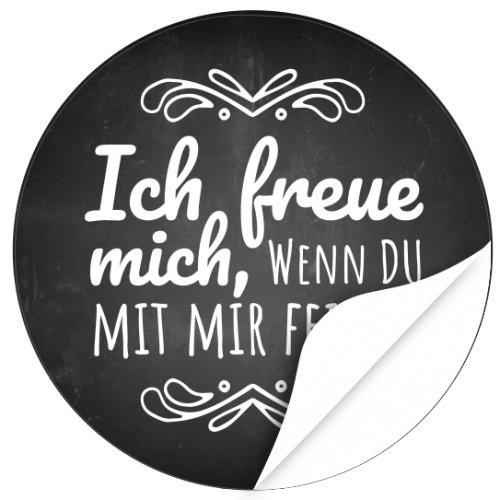 48 Design Etiketten, Rund/Ich Freue Mich Motiv 1/Hochzeit/Taufe/Geburtstag/ Konfirmation/Aufkleber/Sticker/Einladung