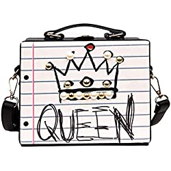 bigcity Women Hand Shoulder Bag and Sling Bag Fashion Graffiti Letter Crown Faux Pearl Beads Women Handbag Case Shoulder Bag