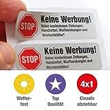 4 Keine Werbung Aufkleber im hochwertigen Edelstahl-Look - Einzeln abziehbar (Keine kostenlosen...
