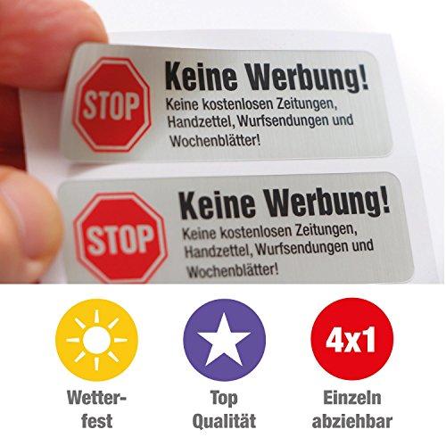 4 Keine Werbung Aufkleber in Edelstahl-Look thumbnail