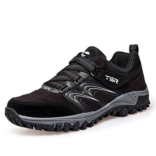 gracosy Trekking-Schuhe, Wanderschuhe Herren Damen Turnschuhe Outdoor Hiking Sneaker Anti-Rutsche Laufschuhe Trailrunning Sportschuhe Schwarz-Herren 43