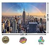 Fototapete New York City Chrysler Building HD XXL Poster 200 cm x 140 cm Hochauflösende Wanddekoration Bild für Wandgestaltung   Fotoposter Manhattan downtown USA   (200 cm x 140 cm - 2 Teile)