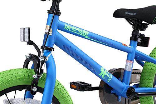 BIKESTAR Bicicletta Bambini 4-5 Anni da 16 Pollici ★ Bici per Bambino et Bambina BMX con Freno a retropedale et Freno a Mano ★ Blu & Verde - 6