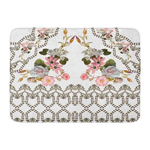 Zhengzho Rutschfeste Fußmatten Muster Barock Blume Antike Blüte Blüte Grenze Botanische Dauerhafte Teppiche 40x60 cm