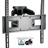 XOMAX ® XM-WH107 TV Wandhalterung + Doppelarm Wandhalter für Plasma LCD LED TFT Fernseher / Monitor + VESA Standard 400x400 400x200 200x200 200x100 100x100 + 23 32 37 39 40 42 46 47 48 50 52 55 Zoll + Wandabstand ca. 7 - 47 cm + verstellbar, neigbar, schwenkbar, ausziehbar + Universal: passend für fast alle TV-Hersteller + Tragfähigkeit bis max. 45 Kg + Stahl / Metall + schwarz