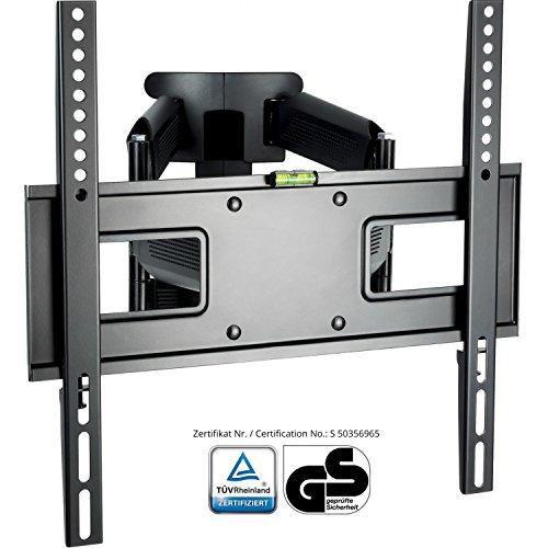 XOMAX  XM-WH107 TV Wandhalterung + Doppelarm Wandhalter für Plasma LCD LED TFT Fernseher / Monitor + VESA Standard 400x400 400x200 200x200 200x100 100x100 + 23 32 37 39 40 42 46 47 48 50 52 55 Zoll + Wandabstand ca. 7 - 47 cm + verstellbar, neigbar, schwenkbar, ausziehbar + Universal: passend für fast alle TV-Hersteller + Tragfähigkeit bis max. 45 Kg + Stahl / Metall + schwarz