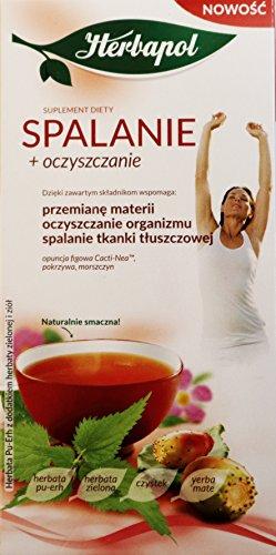Herbapol für Verbrennung und Reinigung (Spalanie + Oczcszczanie), Nahrungsergänzungsmittel. Pu-Erh Tee mit grünem Tee und Kräutern. Nettogewicht 40 g (20 Beutel x 2 g) -