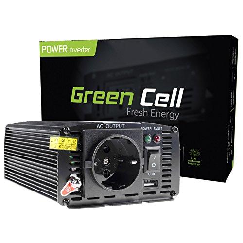 Green Cell® 300W Spannungswandler Wechselrichter DC 24V auf AC 230V Inverter für Auto inkl. Stecker für Kfz-Zigarettenanzünder mit USB-Ladeanschluss und Direktanschluss an Autobatterie