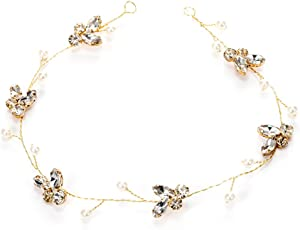 Bridal Hairband Crystal Pearls Hair Band Headpiece Headwear Wedding Accessories (MD208 Gold)