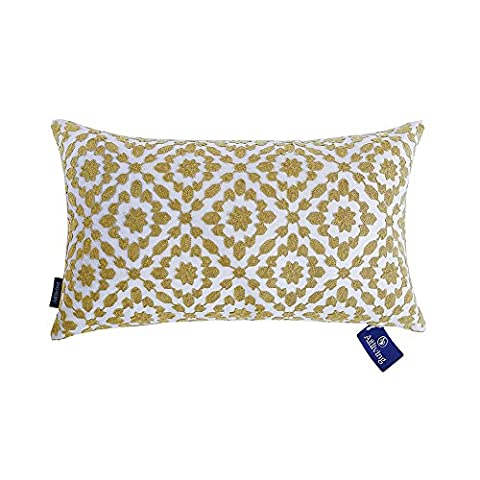 Aitliving Bolster Pillow Covers Patterned with Trellis Yellow Cushion Covers 12x20 inches(30x50cm) 1pc of Mina Bolster Cushion Covers Yellow Ochre for Sofa and