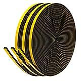 Fowong Nastro adesivo in schiuma 6mm (W) x 3mm (T) per porte e finestre Esclamatore Sigillante per nastri impermeabili per guarnizioni vuote, 3 rotoli Lunghezza totale 15 m
