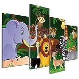 Kunstdruck - Kinderbild Wilde Tiere im Dschungel Cartoon - Bild auf Leinwand - 120x80 cm 4 teilig - Leinwandbilder - Kinder - Regenwald - Urwald - abenteuerlich