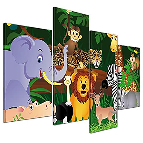 """Kunstdruck mit Winter SALE """"Kinderbild Wilde Tiere im Dschungel Cartoon"""" Bild auf Leinwand - 120x80 cm 4 teilig - Leinwandbilder - Bilder als Leinwanddruck - Wandbild von Bilderdepot24"""